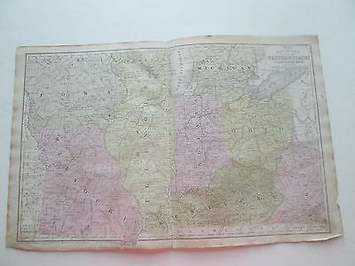 1852 S. AUGUSTUS MITCHELL'S MAP-WESTERN STATES from MITCHELL'S GEOGRAPHY