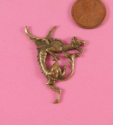 Antique Brass Right Facing Art Nouveau Flying Dragon #2