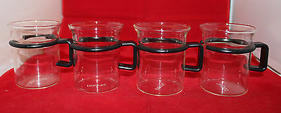 Bodum Bistro Short Hot Iced Clear Glass Coffee Mug Cup Set of 4 Black Handle (A)