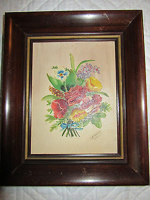VINTAGE rose floral flower original oil PAINTING signed Linnell hand painted