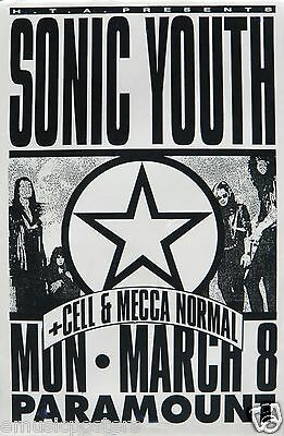 SONIC YOUTH 1993 SEATTLE CONCERT TOUR POSTER - Group Shot with Star In A Circle