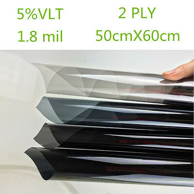 Car Black Car Home Glass Window Tint Film and shade Roll 2PLY 50cm*0.6m 5% VLT