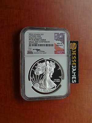 2016 W Proof Silver Eagle Ngc Pf70 Ultra Cameo Er Rare Mercanti Signed 30Th Ann!