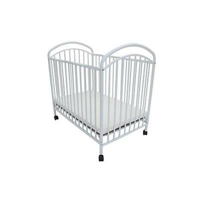 Classic Arched compact size metal non-folding crib White