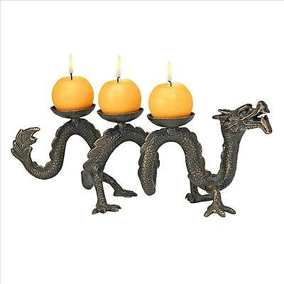Cast Iron Asian Dynasty Ancient Replica Dragon Candle Holder Candelabrum NEW