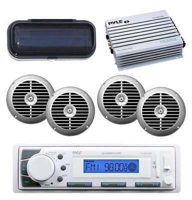New Pyle Marine Stereo System W/USB iPod AUX 4 Silver Speakers 400W Amp & Cover