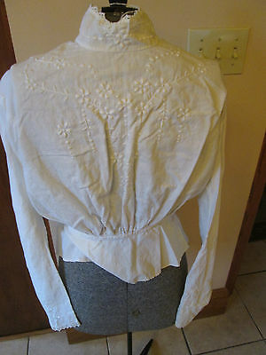 Late Victorian White Cotton Embroidered & Tatted Lace Blouse