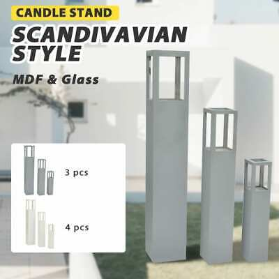 Grey/White 3pc Garden Candle Stand Wooden Holder Wedding Lighting Outdoor 3 Size