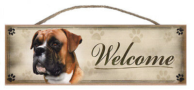 """Boxer """"Welcome"""" Rustic Wall Sign Plaque Gifts Home Ladies Pets Dogs"""