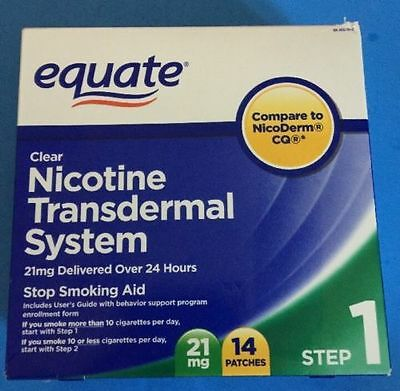 Equate Nicotine Transdermal System Step 1 21mg Clear Patch 14 Patches SEALED