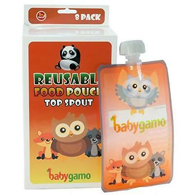 Baby Gamo Reusable Food Pouch 6 Oz (8 Pack) New