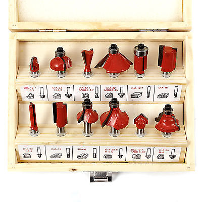 "New 12Pc 1/4"" Professional Shank Tct Tipped Router Bit Set With Wooden Case Tool"