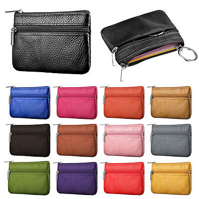Multi-color Card Coin Key Holder Zip Genuine Leather Wallet Pouch Bag Purse 2