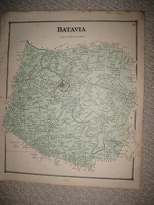 Antique 1870 Batavia Township Clermont County Ohio Handcolored Map Superb Rare