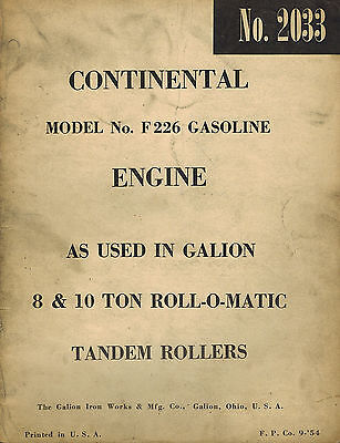 Continental F226 Gasoline Engine Parts  Manual