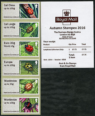 Autumn Stampex 2016 Type Iii Ladybirds Coll Set/6 A009 A012 A014 B001 Post & Go