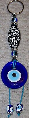 "White & Black Medallion Turkish 6"" Long 1 1/2"" Glass Evil Eye Wall Charm"