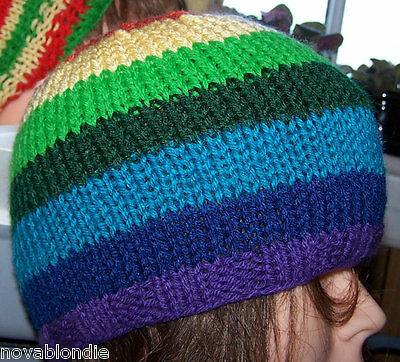Rainbow LGBT Hat Hand Knit Beanie Skull Cap Stripe Gay Pride New Blue Red Yellow