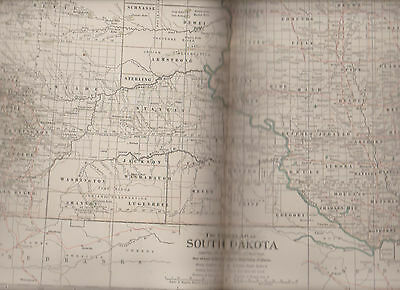 South Dakota North Dakota Century Atlas 1897 Antique Map #27 11 3/4 x 16