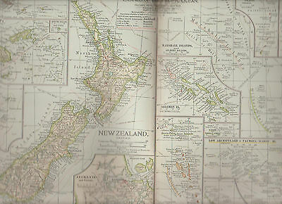 New Zealand & Pacific Islands Century Atlas 1897 Antique Map #117 11 3/4 x 16