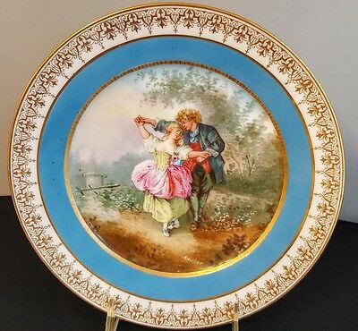 Sevres Chateau Des Tuileries Palace Cabinet Plate Signed Boucher Courting Couple