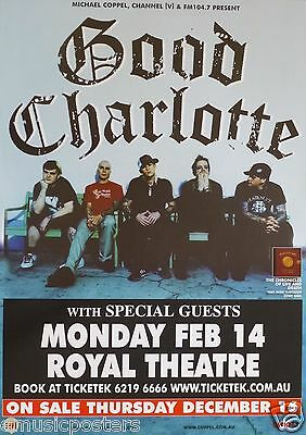 "Good Charlotte ""chronicles Of Life Tour"" 2005 Canberra, Australia Concert Poster"