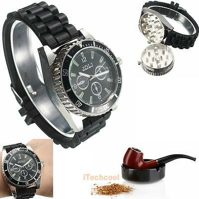 Metal Alloy Wrist Watch Herb Spice Tobacco Grinder Cigarette Crusher Black
