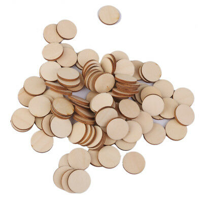 100 Blank Natural Wooden Round Circle Embellishments Card Making Craft 20mm