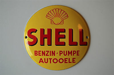 Heavy quality porcelain advertising sign Shell Benzin-Pumpe garage plaque round