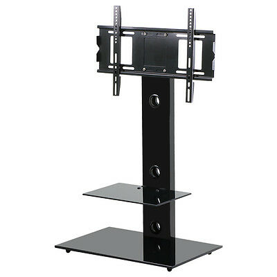 """High Gloss TV Stand with TV Bracket Mount for Plasma LCD TV Black Glass 32-55"""""""