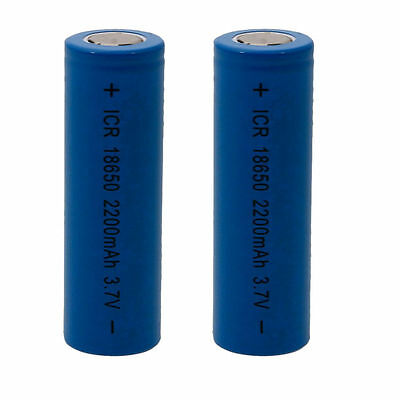 2X ICR 18650 3.7V 2200mah Li-ion Rechargeable Battery Flat Top For Toys Remotes
