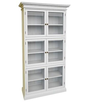 Stockholm White Painted Mahogany Furniture 3 Level Pantry Glass Doors & Shelves