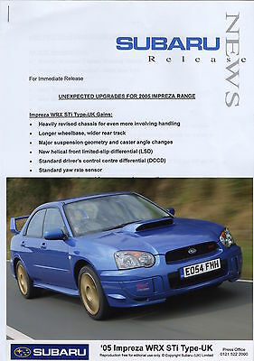 Subaru Impreza WRX STi Type UK Press Release/Photos - 2005 Model Year Upgrades