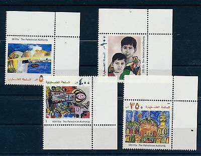 Palestine Authority 2000 Children Paintings Set Of Stamps With Tabs Mnh