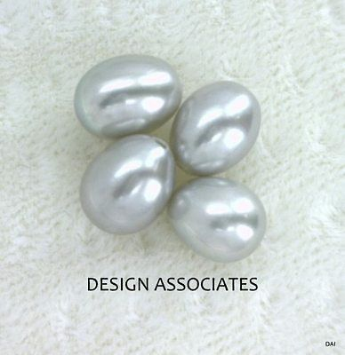6.5 MM+ Silver Freshwater  Half Drilled  Drop Pearls 6 Pc Set AAA