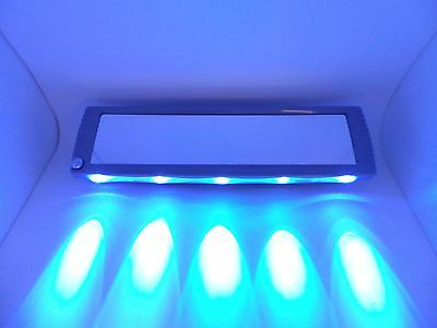 Extra Wide 30cm Illuminated LED Rear View Mirror Clip On - Blue