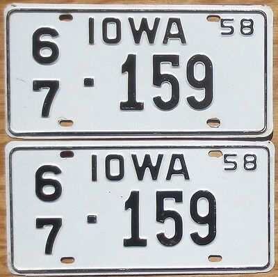 1958 Iowa License Plate Number Tag PAIR Plates