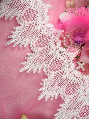 """C149 White Floral and Scallop  Victorian Venice Lace Trim for Sewing  4.5"""""""