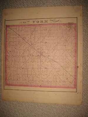 Antique 1874 York Spencer Township Medina County Ohio Handcolor Map & Lith Print