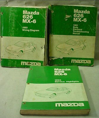 1993 Mazda 626 MX-6 Factory Workshop Body Electrical Wiring Highlights Manuals
