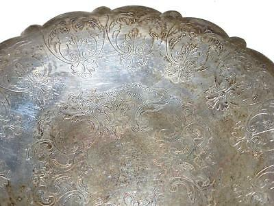 Antique Vtg VALENCE B. M. Co Silver Silverplate PLATE TRAY PLATTER 2008 Etched