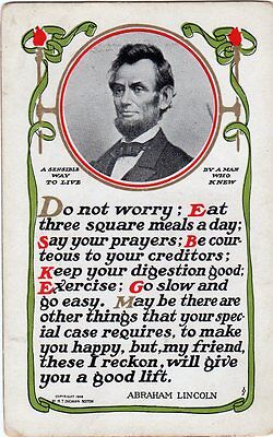 "1908 Abraham Lincoln ""A Sensitive Way To Live"" Postcard"