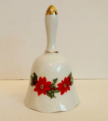 Vintage Lefton Christmas Bell Poinsettia Holly Gold Trim 1987 Signed Excellent