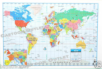 "Large World Map Poster Wall Art Print Decoration 40"" X 28"" Superior Mapping Co"