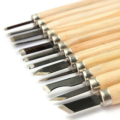 New 12Pcs Wood Carving Hand Chisel Woodworking Tool Set Woodworkers Gouges