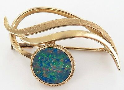 .10K Gold & Superb Pinfire Doublet Opal Brooch. Priced To Sell !!!