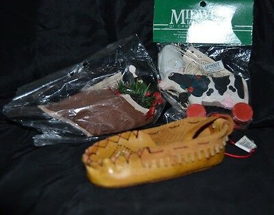 Lot of 3 Country Midwest Ornaments Wood Leather Cow Duck Goose Moccasin NWT