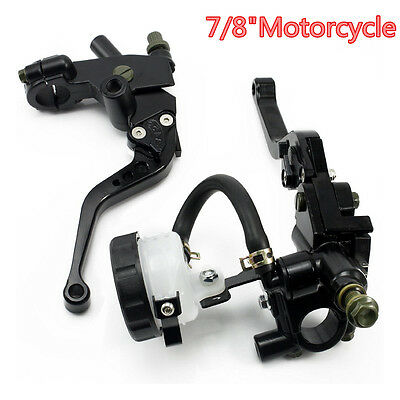 Motorcycle A Pair Black 7/8'' Front Brake Clutch Master Cylinder Reservoir Lever