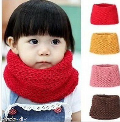 BD New Muffler Baby Warm Scarf Boys Girls Knitted O Ring Knitting Kids Neck