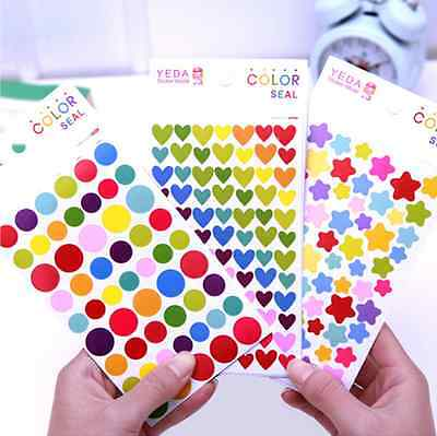 6 Sheets Assorted Stickers Heart Star Round Shape Multi Color Reward Kid Work US